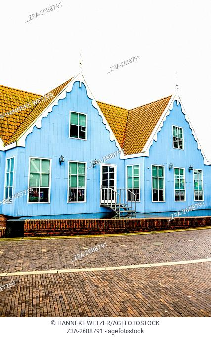 Blue houses of the Inntel Hotel Amsterdam Zaandam, the Netherlands