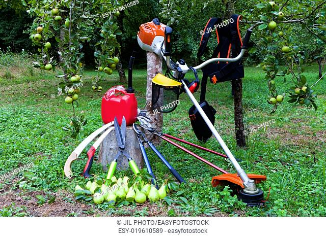 still life of machine tool gardening in the field