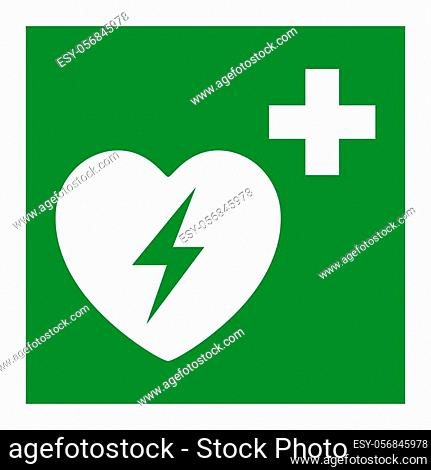 Automated External Defibrillator Heart Symbol Isolate On White Background, Vector Illustration EPS. 10