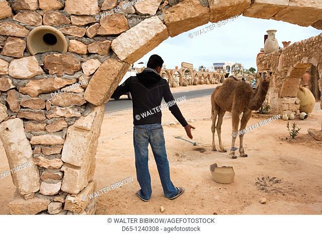 Tunisia, Jerba Island, Guellala, pottery salesman and donkey