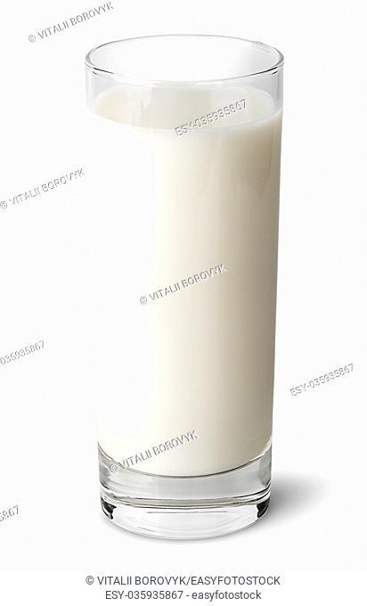 Full glass of milk isolated on white background