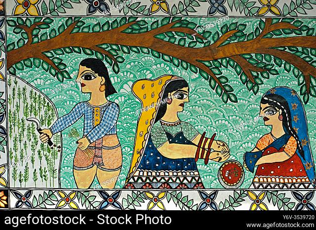 Mural painting the Madhubani painting ( Bihar, India). The Madhubani ( or Mithila) style of painting is an art form from northern India and southern Nepal