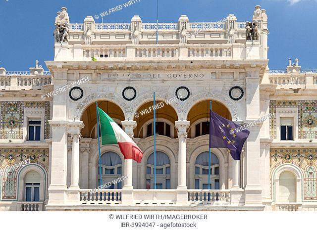 Italian and European flags in front of the Palazzo del Governo, Piazza Unita d'Italia, Trieste, Friuli-Venezia Giulia, Italy