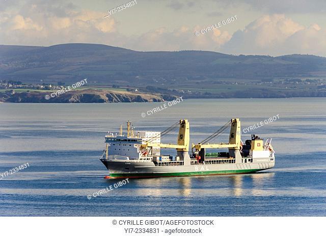 Cargo ship, Cap de la Chevre, Pointe de Saint Hernot, Douarnenez Bay, Finistere, Brittany, France