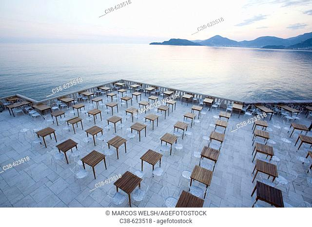 The Terrace of Sveti Stefan Hotel in Montenegro