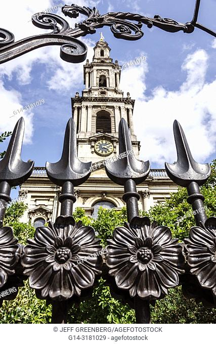 United Kingdom Great Britain England, London, Covent Garden Strand, St. Saint Mary-le-Strand Church, exterior outside, ornate wrought iron gate