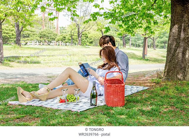 Side view of young couple having picnic at park in spring