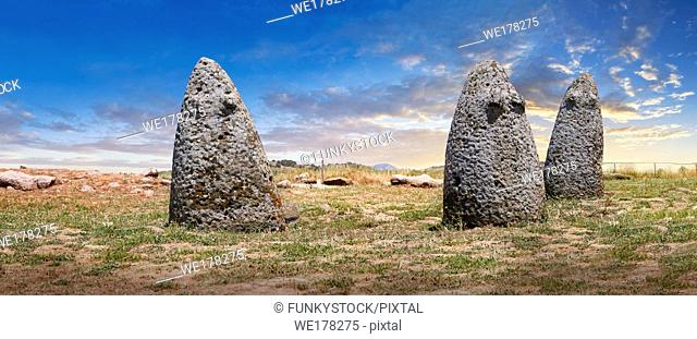 Picture and image of the prehistoric nuragic conical stone betyls representing female fertility with 2 small carved breasts, probably nuragic sacred stones