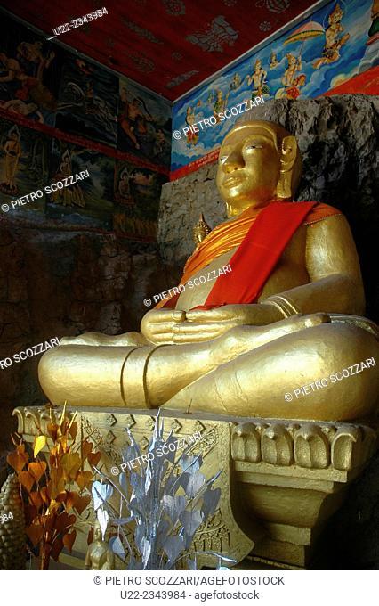 Luang Prabang, Laos: Buddha statue in a temple