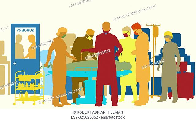Colorful editable vector illustration of surgery in an operating theater