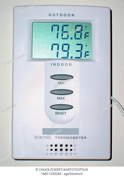 Digital thermometer hanging on inside wall