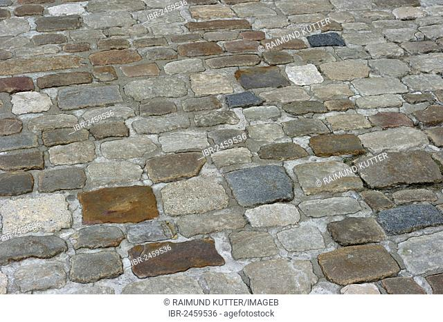 Colourful cobblestones in the old town of Regensburg, Upper Palatinate, Bavaria, Germany, Europe