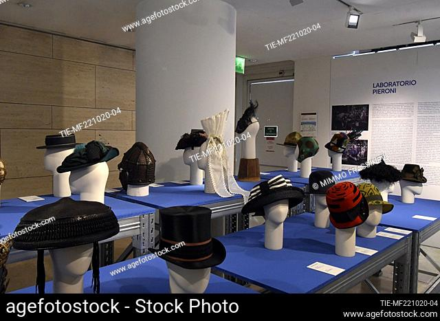 A view of hats by Laboratorio Pieroni at 'Romaison 2020' exhibition featuring archives and creations from Rome's foremost costume design studios