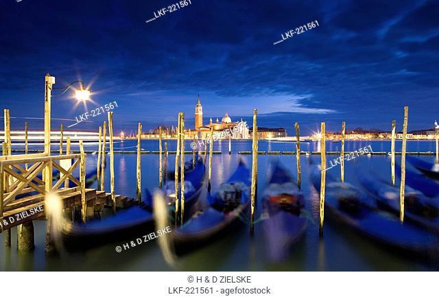 Quay at St Mark's Square with Gondolas and view towards San Giorgio Maggiore Island, Venice, Italy, Europe