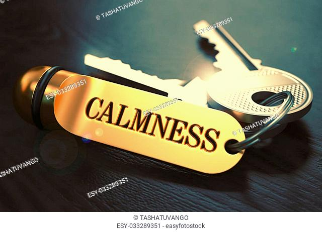 Calmness Concept. Keys with Golden Keyring on Black Wooden Table. Closeup View, Selective Focus, 3D Render. Toned Image