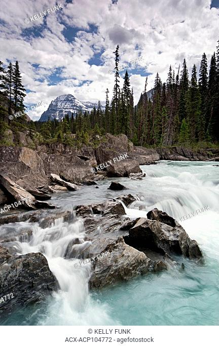 The Kicking Horse River sets the foreground for Cathedral Mountain in Yoho National Park, Rocky Mountain Region, British Columbia, Canada
