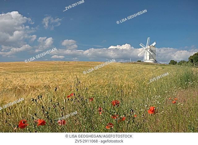 Ashcombe Windmill on Kingston Hill, Lewes, East Sussex, England, Great Britain. Uk