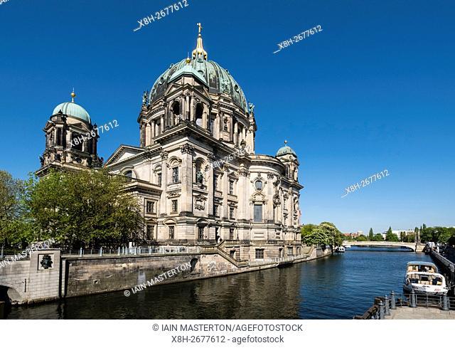 Exterior view of Berliner Dom , Berlin Cathedral beside River Spree, in Mitte Berlin Germany