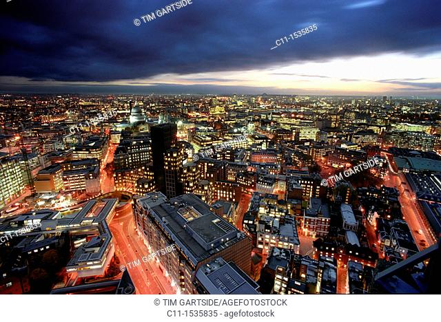 london panoramic night view barbican england uk
