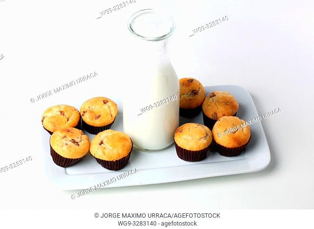 Cupcakes with milk bottle