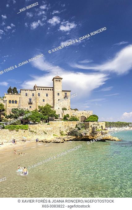 Beach and Castle of Tamarit, Altafulla, Tarragones, Tarragona, Spain
