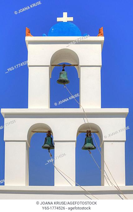 Bell tower of a Greek church on Santorini