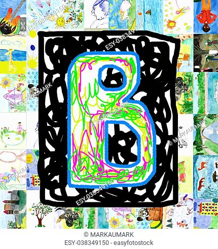 Initials letter B, from children's drawings. Made by child