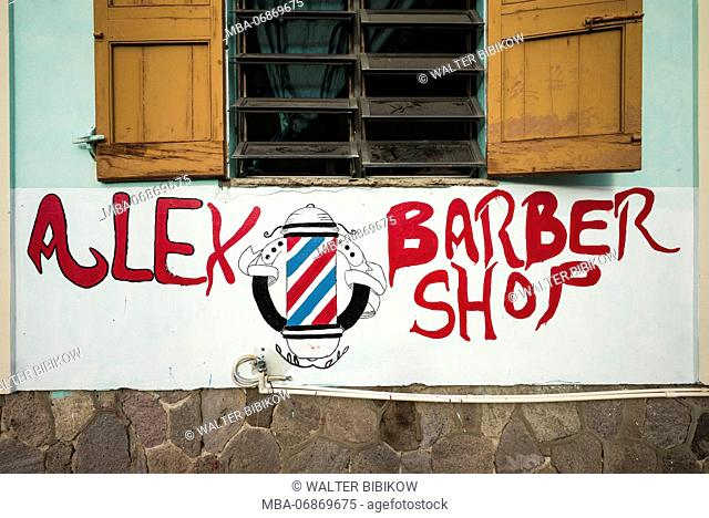 St. Kitts and Nevis, Nevis, Charlestown, Dominican-owned barbershop,exterior