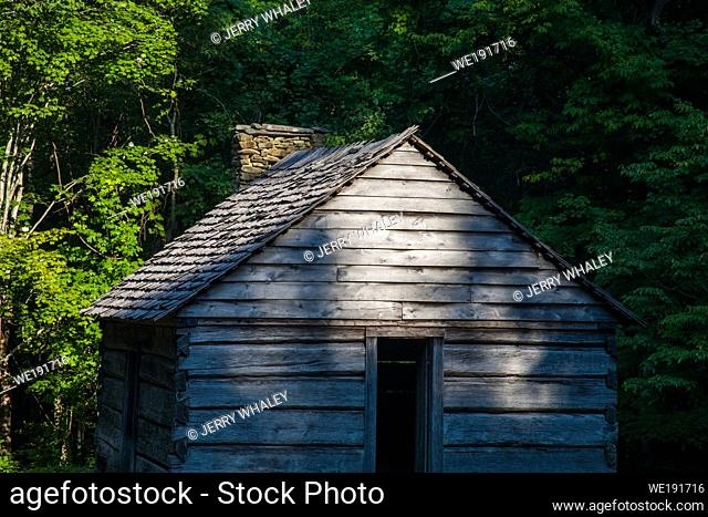 Log Cabin on the Motor Nature Trail in the Great Smoky Mountains National Park, TN