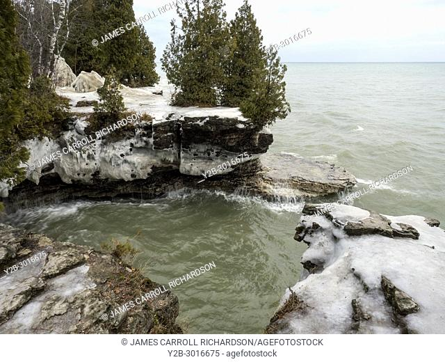 Shoreline of Lake Michigan at Cave Point County Park in Door County Wisconsin