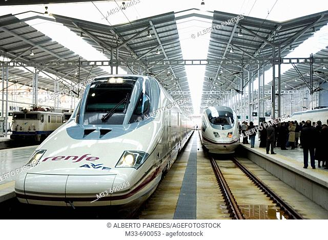 AVE (Spanish High-speed train), model Talgo 350 Serie 102 'Pato' (Duck). Málaga station, Andalusia, Spain
