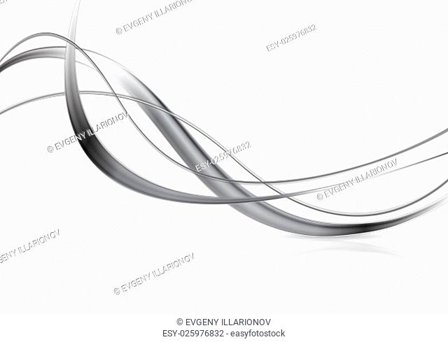 Metallic abstract waves on white background
