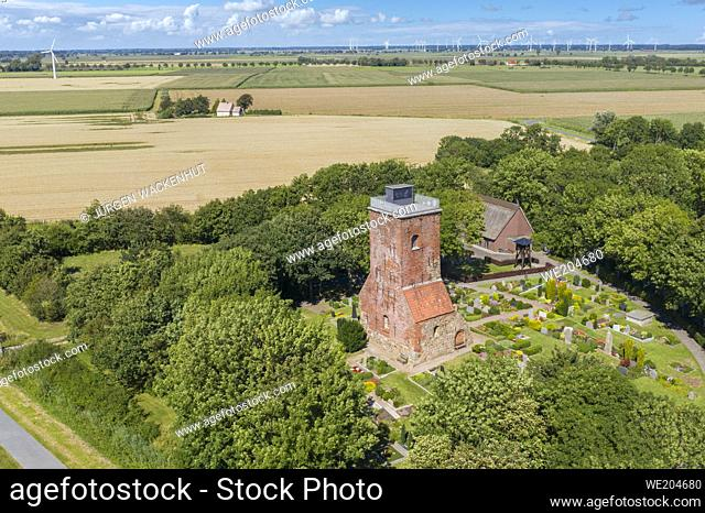 Aerial view with the Ox Tower as the rest of the former medieval church, Imsum district of Langen, Lower Saxony, Germany, Europe