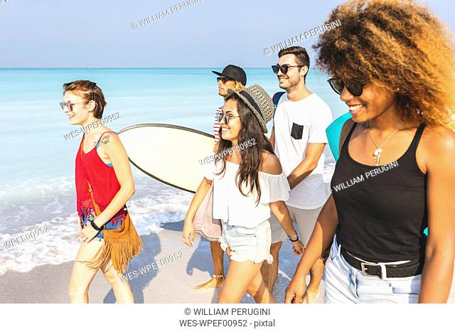 Group of friends walking on the beach, carrying surfboards