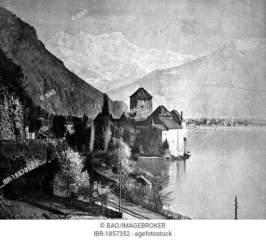 Early autotype of Château de Chillon or Chillon Castle, Canton Vaud, Switzerland, historical photograph, 1884