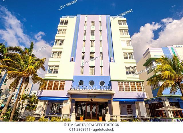 Colony and Boulevard Hotel, South Beach, Ocean Drive,Miami, Florida, USA
