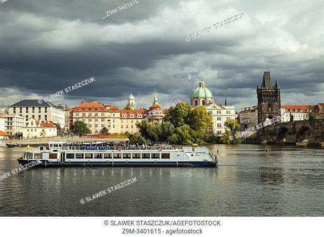 Autumn afternoon on Vltava river in Prague, Czechia