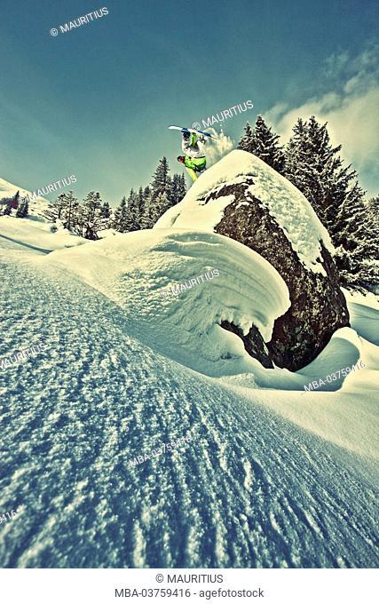 Snowboarder, jump