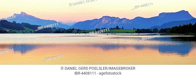 Lake Irrsee at dusk with Salzkammergut and the Dachstein Mountains, near Zell am Moos, Upper Austria, Austria