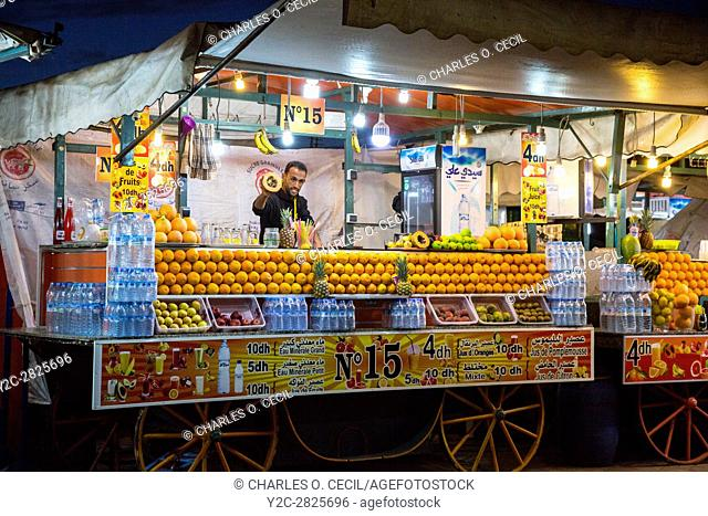 Marrakesh, Morocco. Vendor of Fruit Juice and Bottled Water, Place Jemaa El-Fna