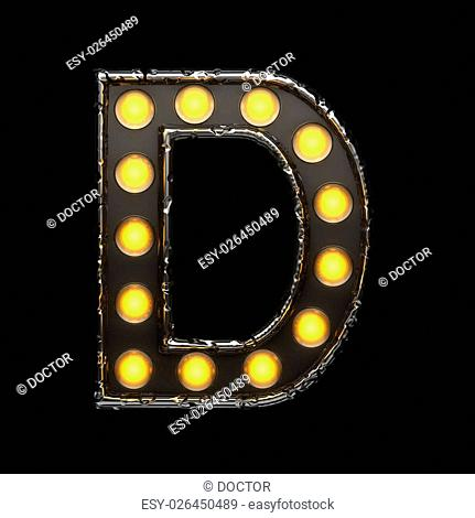 d metal letter with lights. 3D illustration