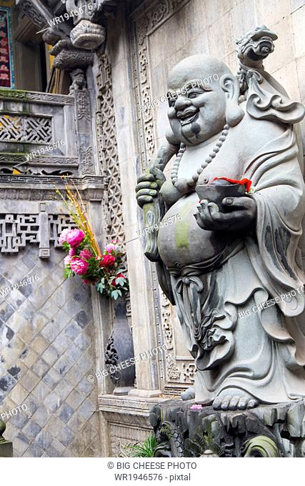 Statue of a fat monk at Luohan Si Arhat Temple, Chongqing, China