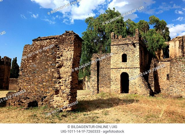 Medieval buildings of Fasil Ghebbi or Gemp at Gondar or Gonder, a city and separate woreda in Ethiopia. Located in the Semien Gondar Zone of the Amhara Region