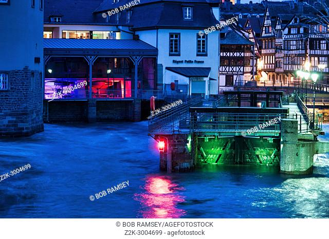 The Ill river and the ' Petite France' old medieval district in Strasbourg city in France