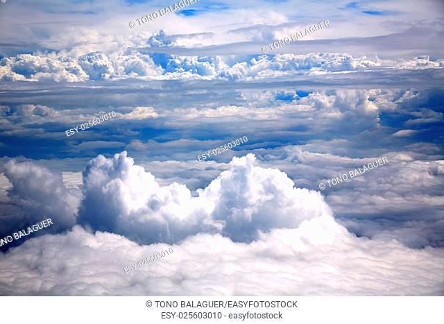 Clouds sea aircraft view aerial dramatic cloudy blue sky