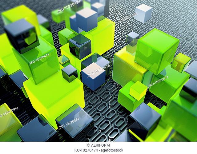 Stacks of building blocks on top of binary code data