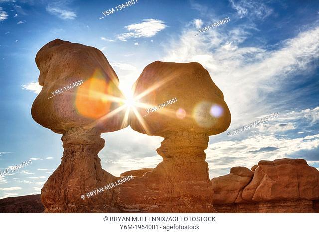 Sunburst through Hoodoos, Goblin Valley State Park, Utah