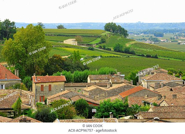 tiled rooftops and countryside, Saint Emilion, Gironde Department, Aquitaine, France