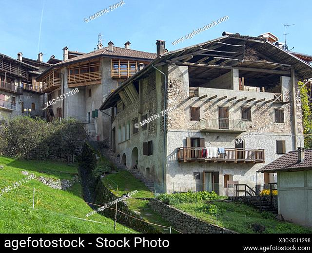 Dolaso, part of San Lorenzo Dorsino in the Dolomiti di Brenta, part of UNESCO world heritage Dolomites. Europe, Italy, Trentino