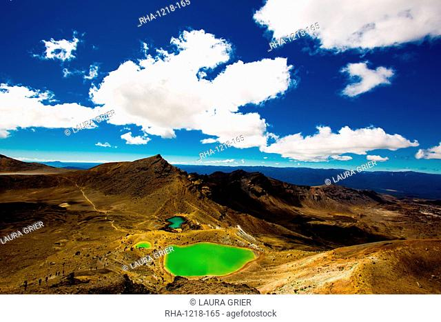 The Emerald Lakes, Tongariro National Park, UNESCO World Heritage Site, North Island, New Zealand, Pacific